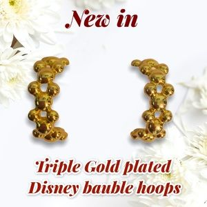 Signed Disney Bauble gold plated hoops